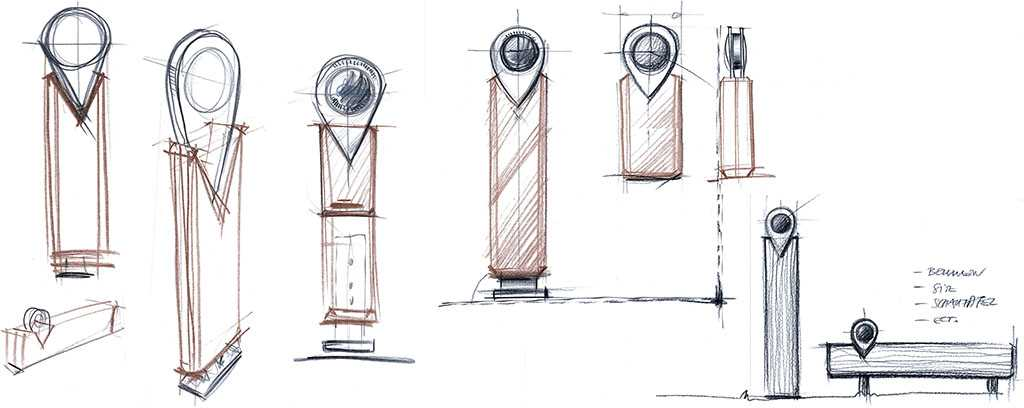 drawings of the steles by Porsche Design