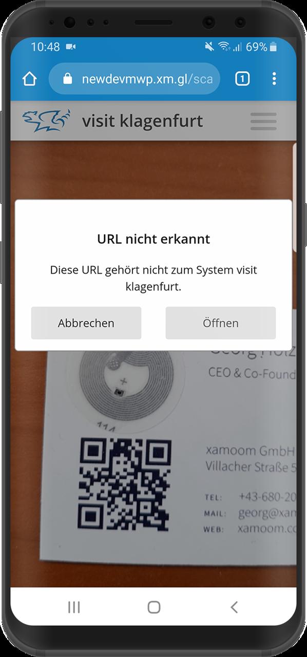 Schreenshot: Ein Code eines Drittanbieters wurde gescannt.