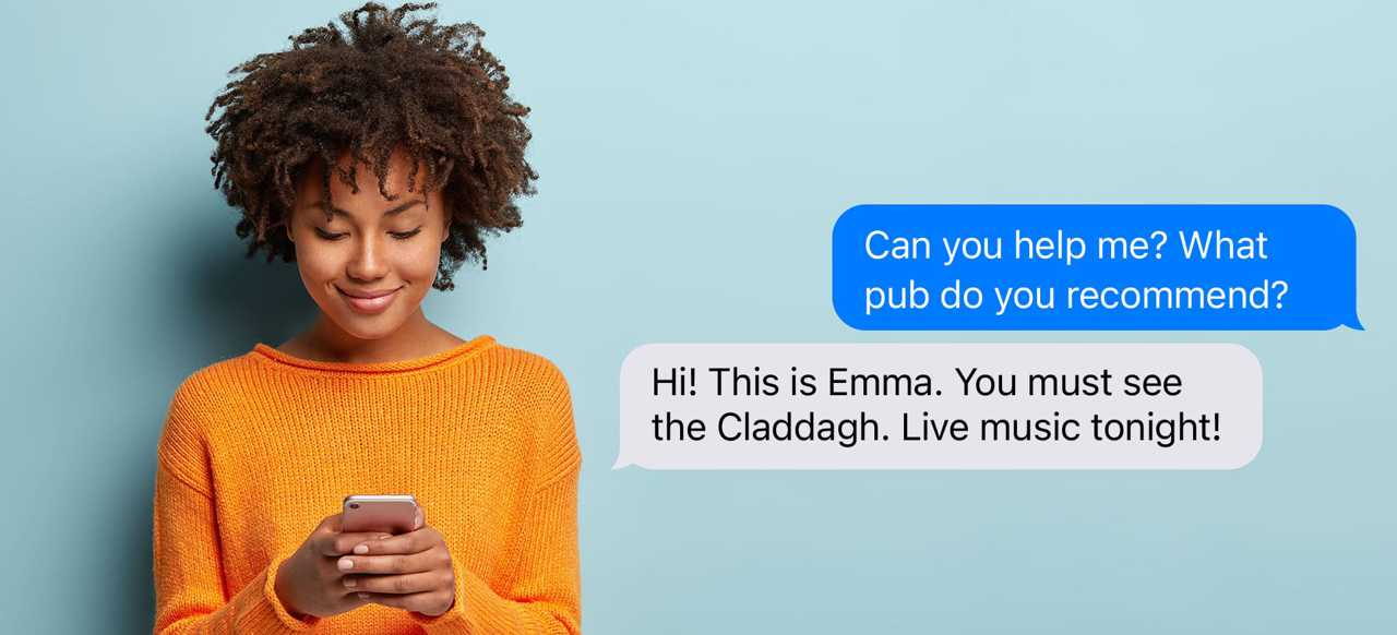 A woman typing useful texts to customers