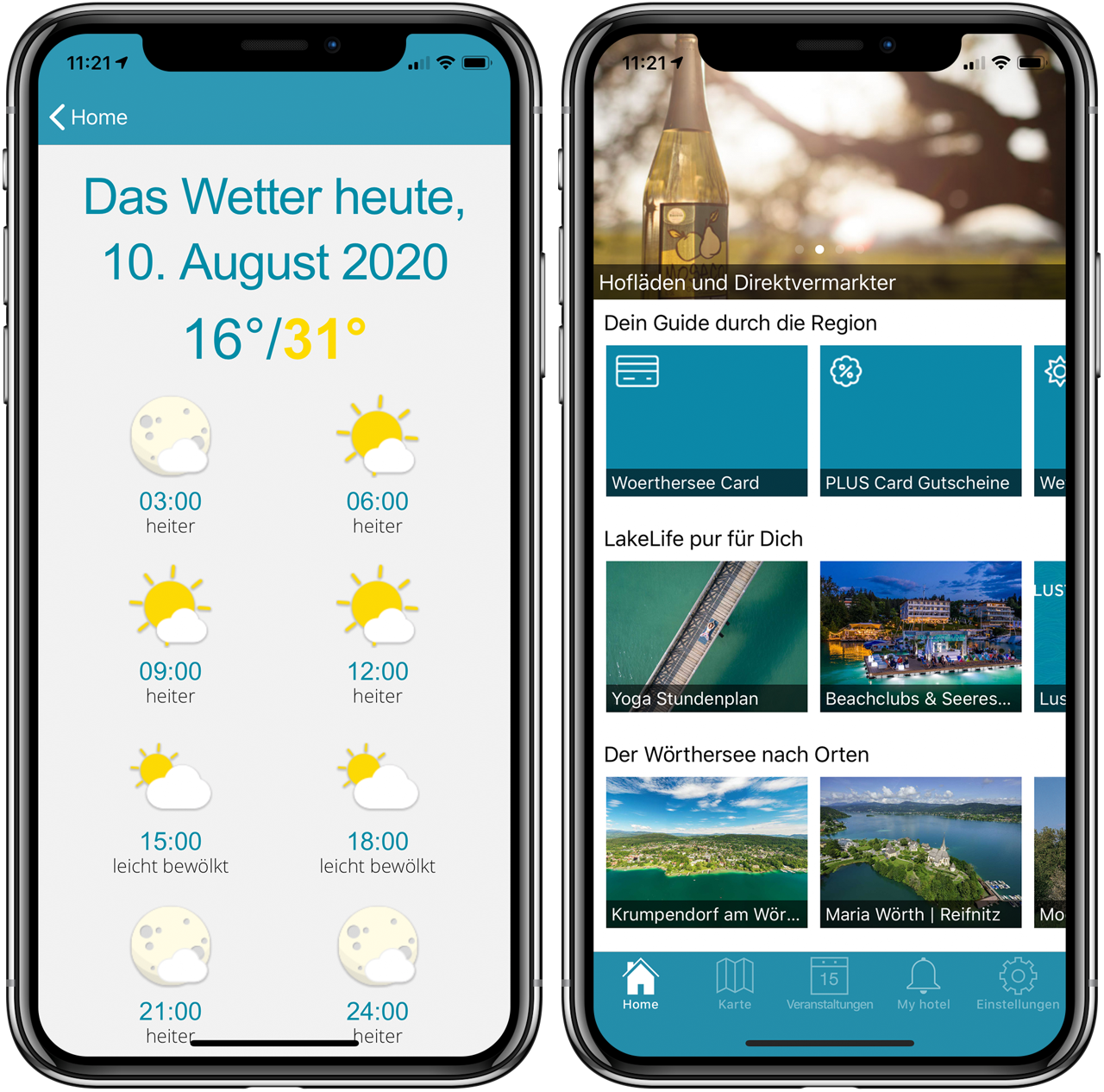 Two screenshots of the Lake Woerth App showing the start screen and the weather