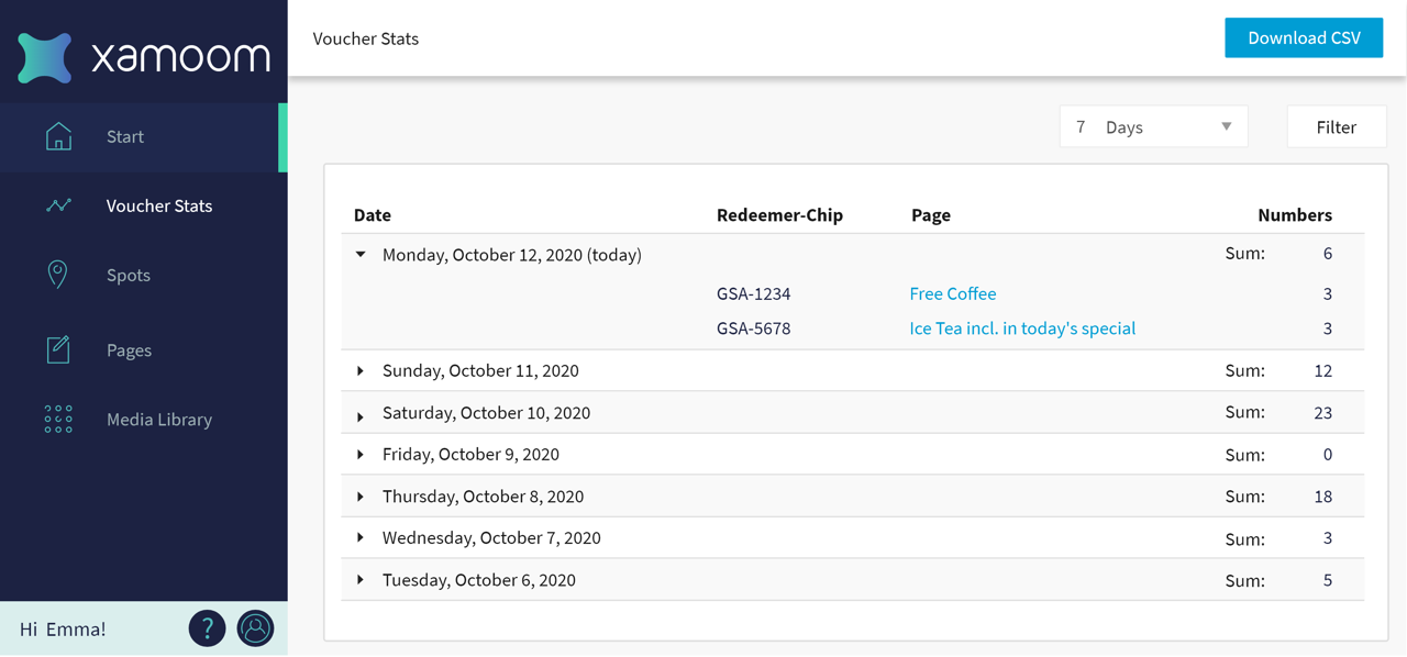 Screenshot of the CMS stats panel for vouchers