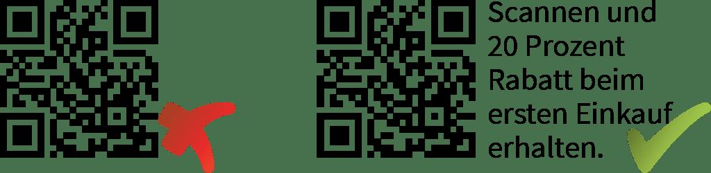 Zwei QR-Codes: Einer mit, der andere ohne Aufruf, zu handel