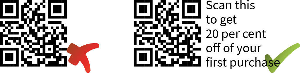 A QR code with and without a call to action