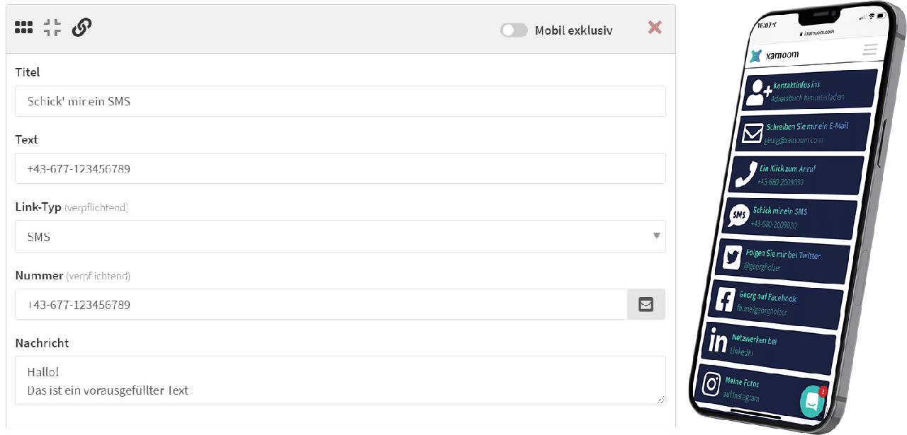 """Inhaltsblock """"Link"""" und das Ergebnis"""