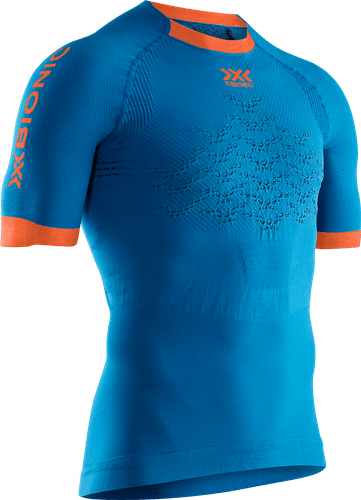 X-BIONIC® THE TRICK 4.0 RUNNING SHIRT SH SL MEN - men (Teal Blue/Kurkuma Orange, L).