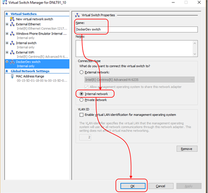 Using Docker tools for Visual Studio with a Hyper-V based