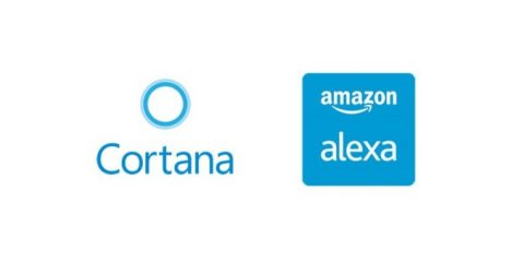 Cortana and Alexa logos