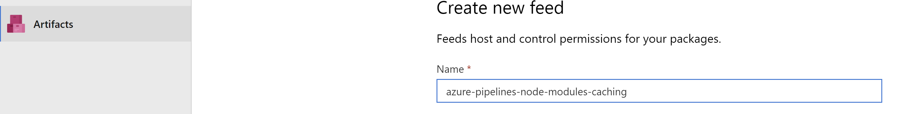 Azure artifact feed - create