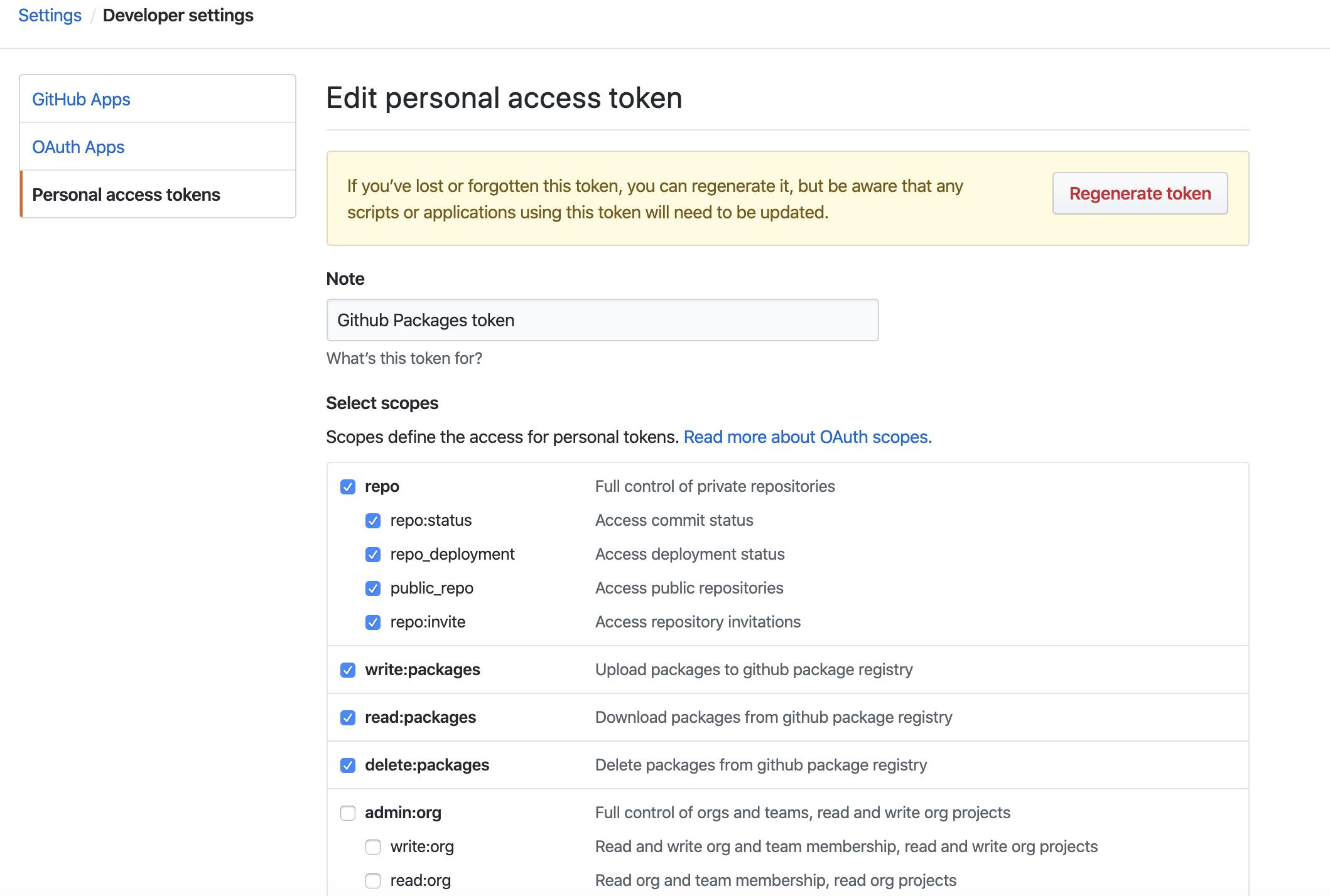 Scopes of the GitHub token