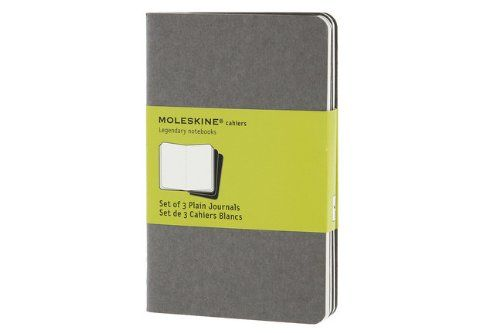 Moleskine Pebble Grey Plain Cahier Pocket Journal (3 Set)