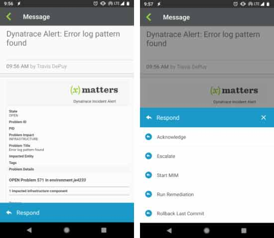 xMatters passes Dynatrace data into alerts with actionable responses.