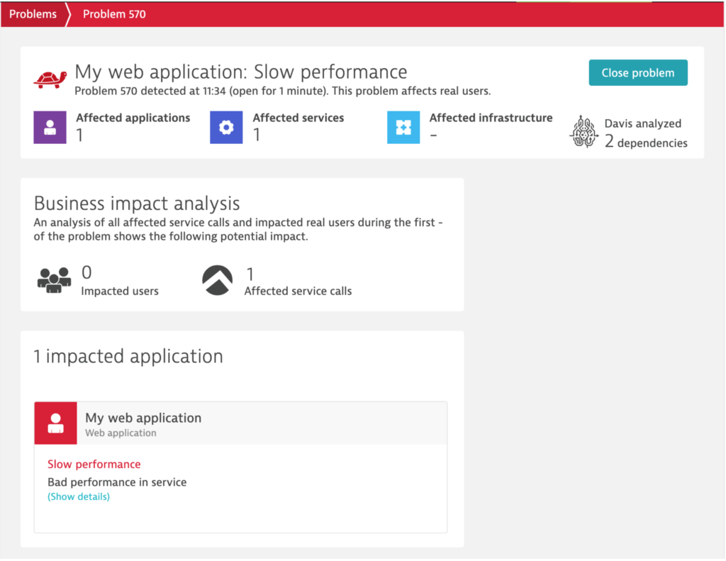 Dynatrace detects the affected application and services and their Davis AI-engine surfaces dependencies.