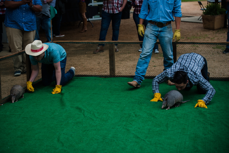 Past Kick Offs have included axe-throwing in Whistler's wilderness and armadillo racing on a Texas ranch.