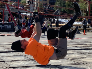 Completing the tyrolean traverse in 2018.