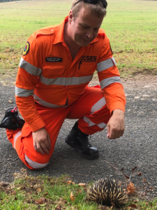 xMatters Principal Solution Consultant Elliot Pittam rescues an echidna from the road in Australia on January 7.