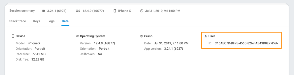 The Firebase crash report includes the user IOD.