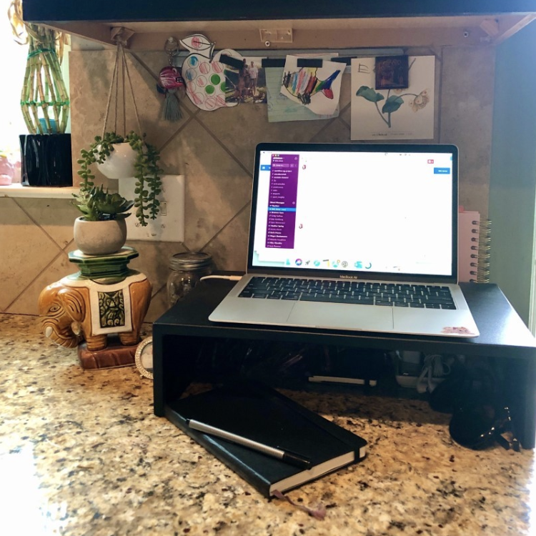 My standing desk for working from home doubles as my kitchen counter.