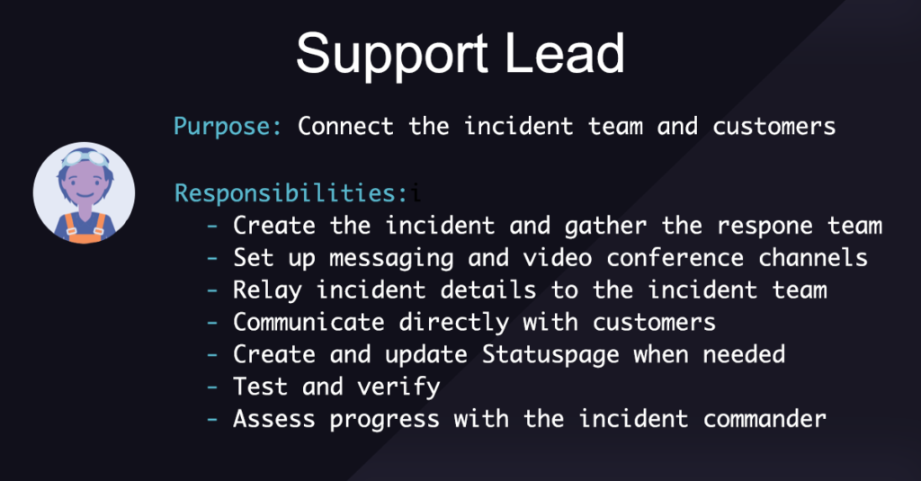 Incident Management Roles and Responsibilities: Support Lead