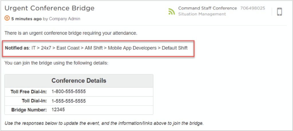 Using the new Alert Context feature, you can be notified as a member of a specific team for faster incident resolution.