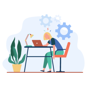 In this illustration, a woman sits in a chair looking at her laptop.