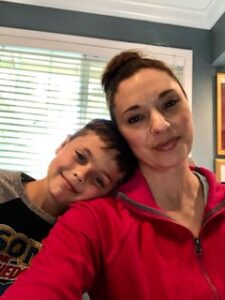 Melanie Haughton and her son