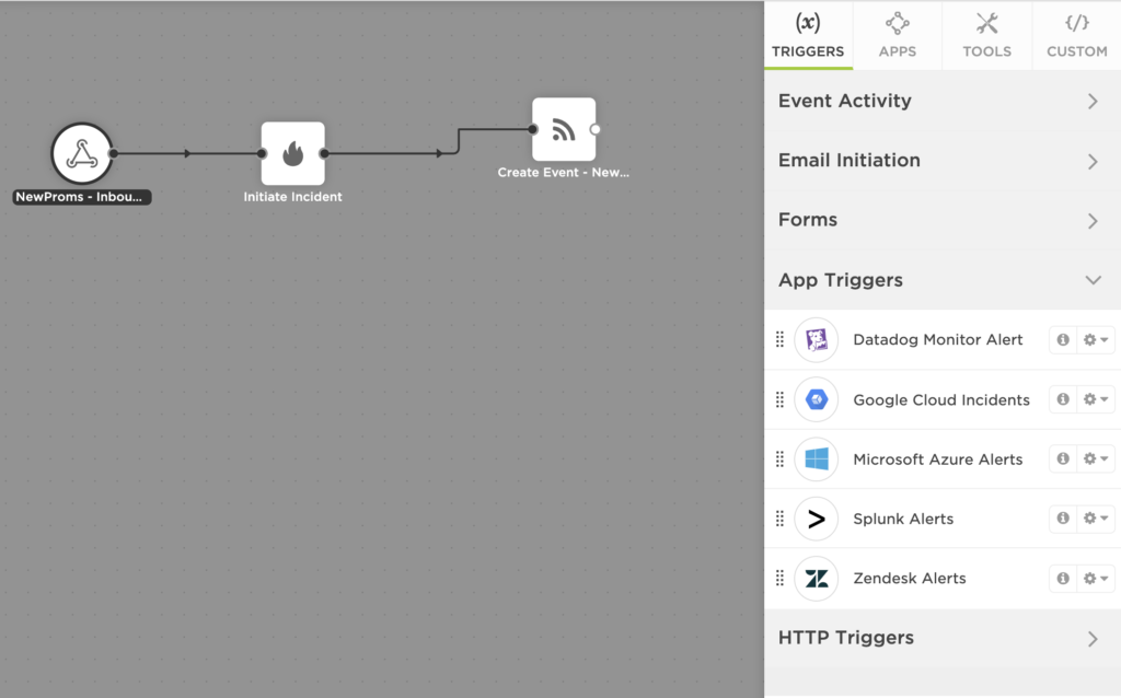 An image of a trigger in xMatters flow designer