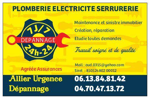 Allier Urgence Dépannage 7/7 24/24 agréé assurances bricolage, outillage (détail)