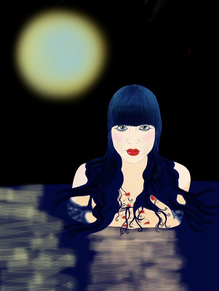 Nello specchio indistinto del Mare Profondo Di Notte (18x24cm)