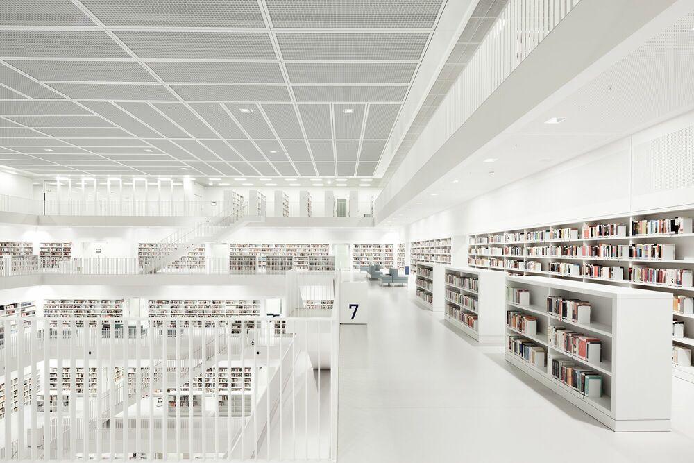 Photographie Library Stuttgart Floor - BERNHARD HARTMANN - Tableau photo