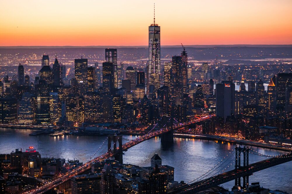 Photographie NEW YORK CITY SUNSET FROM HELICOPTER - CALDER WILSON - Tableau photo