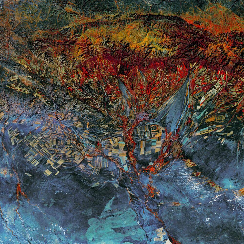 Photographie CUBISM LANDSAT STYLE -  CHASSEURS DE NUITS - Tableau photo