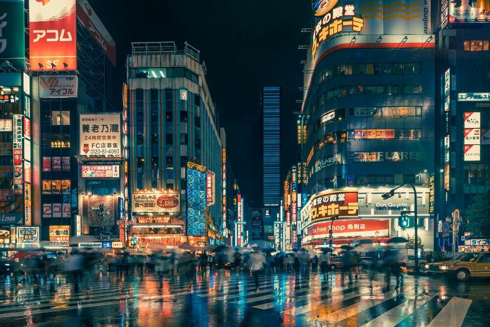 Kunstfoto Tokyo Neon Night - FRANCK BOHBOT STUDIO - Foto schilderij