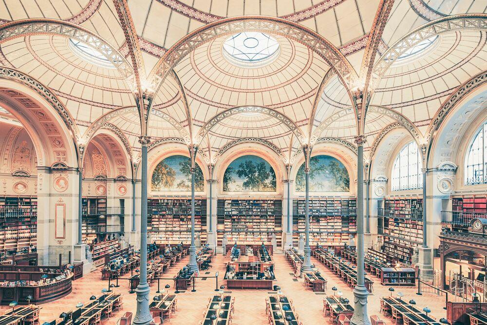 Photographie SALLE LABROUSTE BIBLIOTHÉQUE DE L'INHA PARIS 2017 I - FRANCK BOHBOT STUDIO - Tableau photo