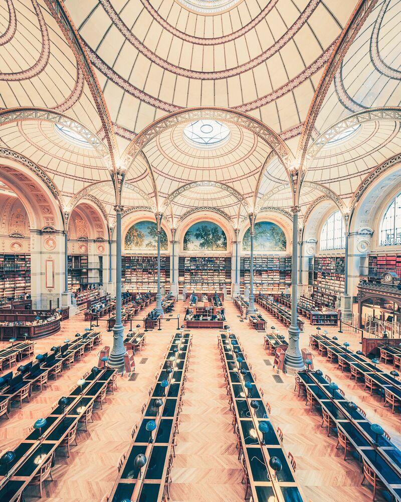 Photographie SALLE LABROUSTE BIBLIOTHÉQUE DE L'INHA PARIS 2017 III - FRANCK BOHBOT STUDIO - Tableau photo