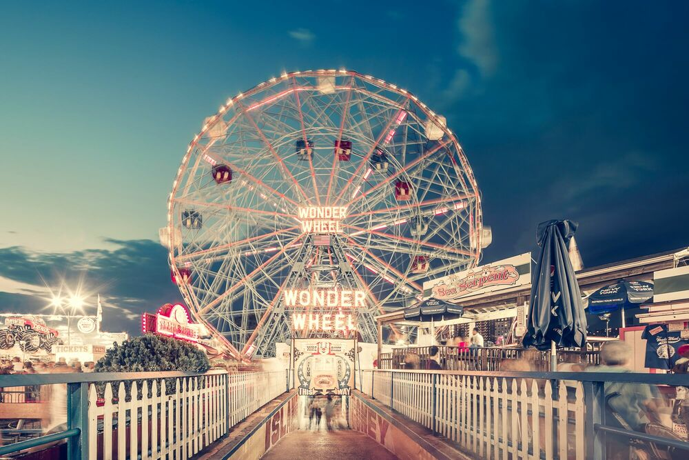 Photographie Wonder Wheel By Night Coney Island NY - FRANCK BOHBOT STUDIO - Tableau photo