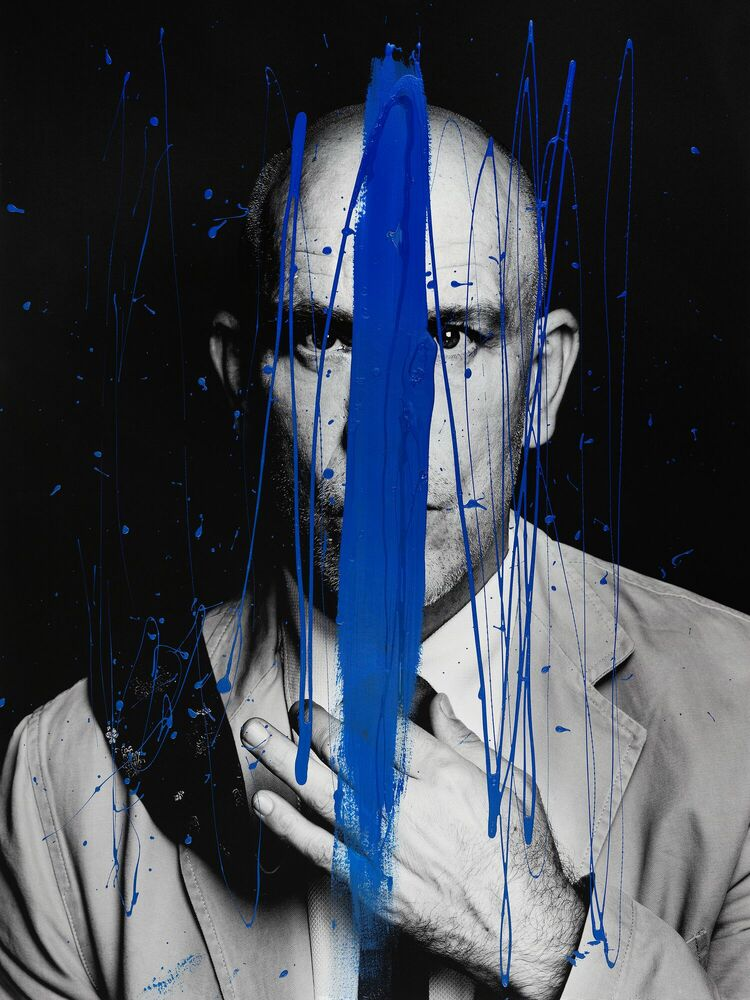Kunstfoto ASYMETRIE DE BLEU -  GUERIN X K - Foto schilderij