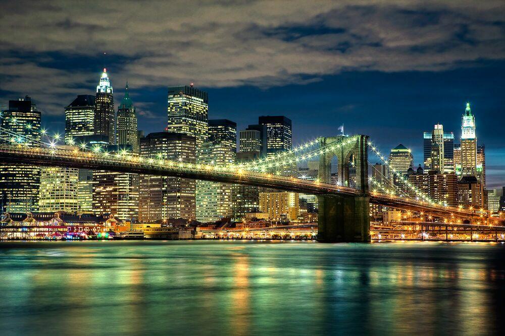 Photographie Brooklyn Bridge By Night - Jörg DICKMANN - Tableau photo
