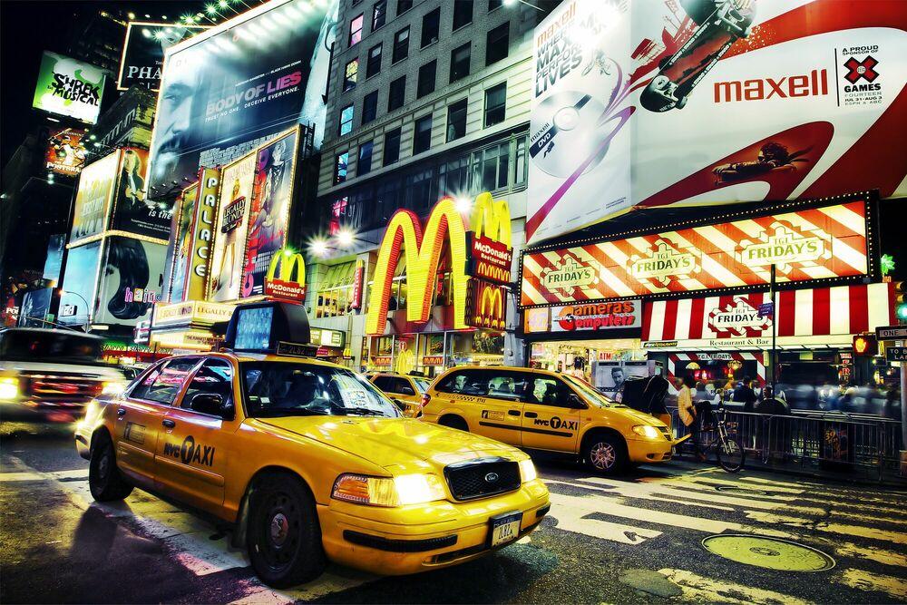 Photographie Times Square Taxi - Jörg DICKMANN - Tableau photo