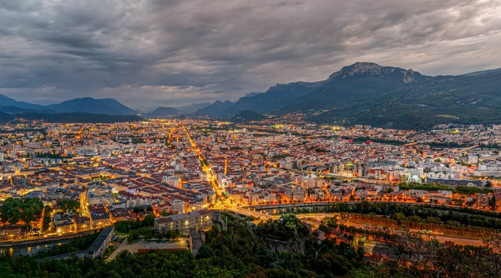 Photograph Grenoble by night - JULES VALENTIN - Picture painting