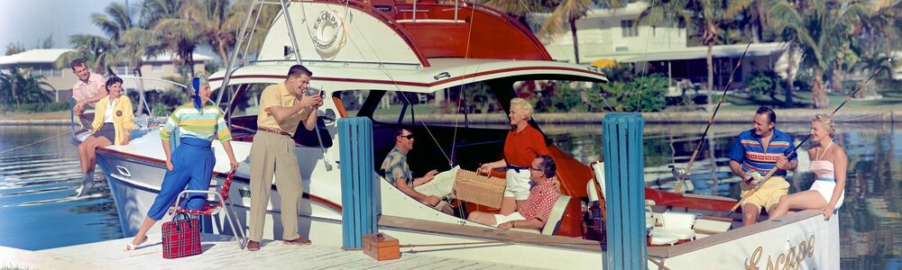 Fotografie BOAT PARTY FLORIDA 1957 - KODAK COLORAMA DISPLAY COLLECTION - HANK MAYER - Bildermalerei