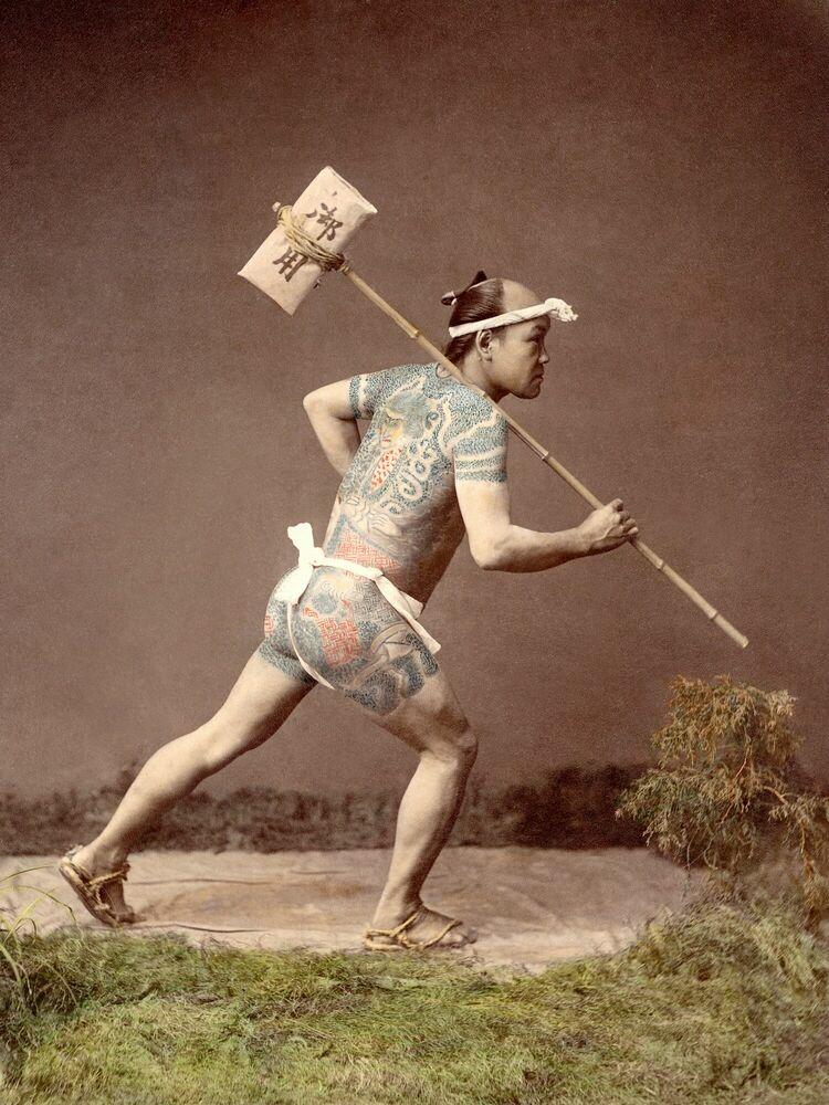 Photographie Hikyaku, vers 1885 - KUSAKABE KIMBEI - Tableau photo