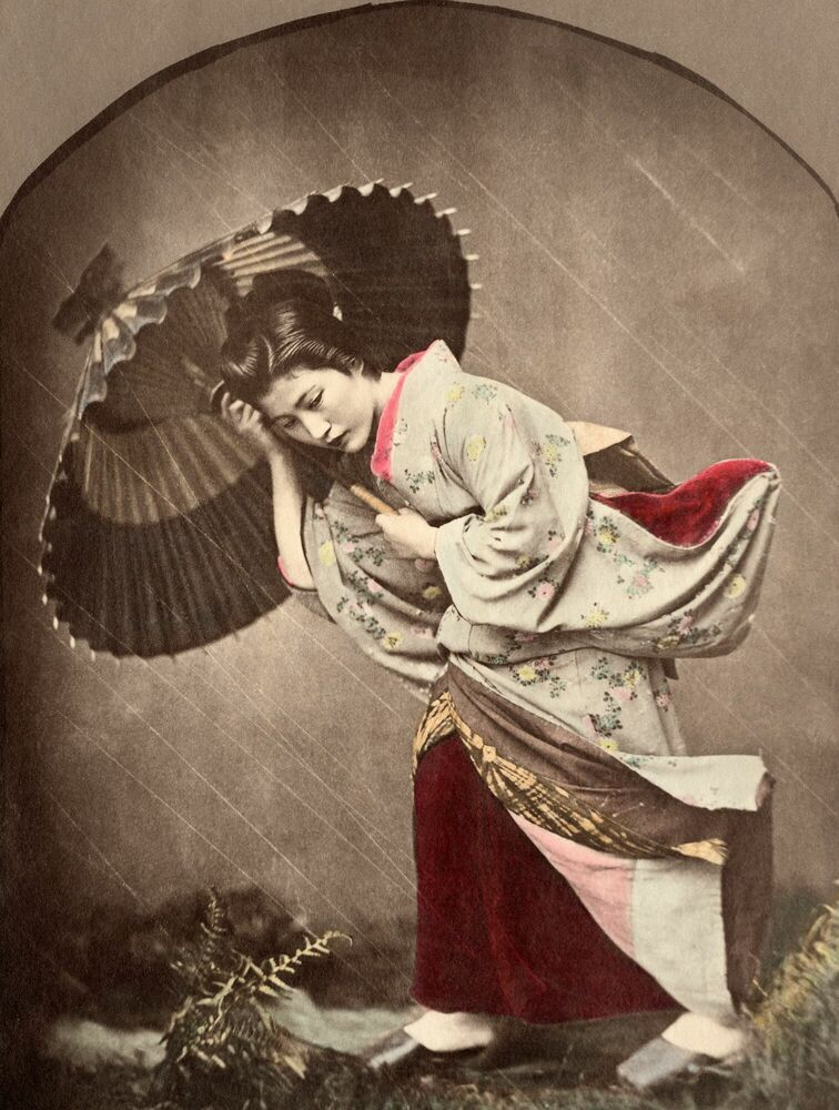 Photographie Japonaise sous l'orage - KUSAKABE KIMBEI - Tableau photo