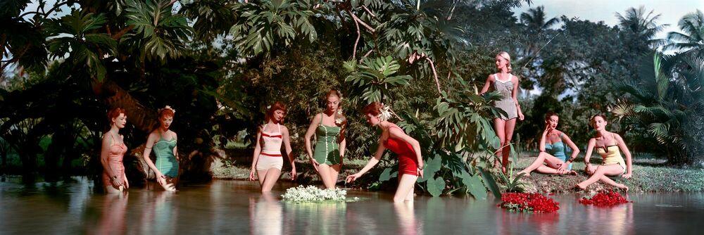 Kunstfoto Chromspun swimsuits, 1956 - Larry Guetersloh  COLORAMA Display Collection - Foto schilderij
