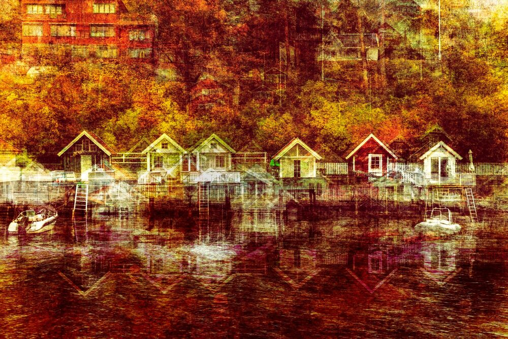 Photograph OSLO - SKOGSHYTTE - LAURENT DEQUICK - Picture painting