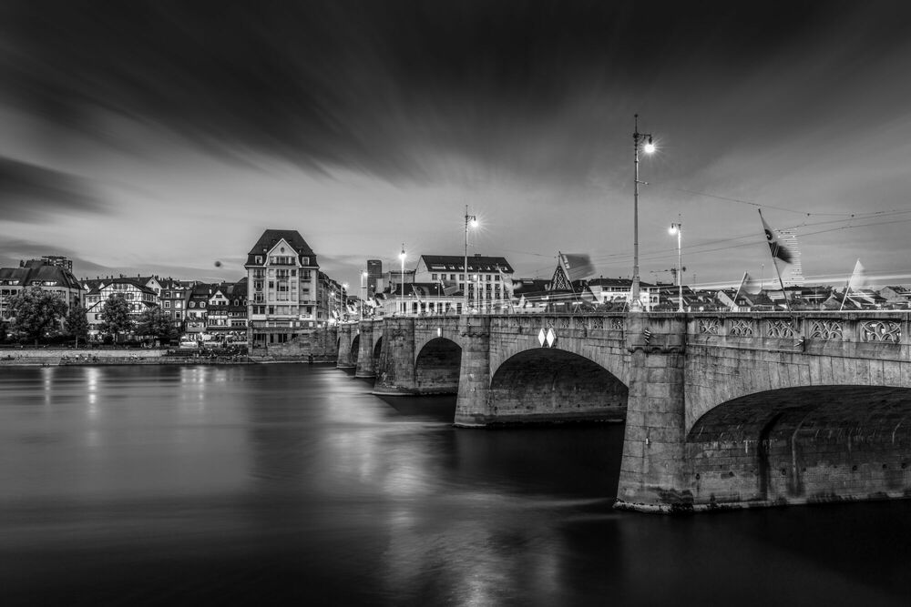 Photograph BASEL MITTLERE BRÜCKE BY NIGHT -  LDKPHOTO - Picture painting
