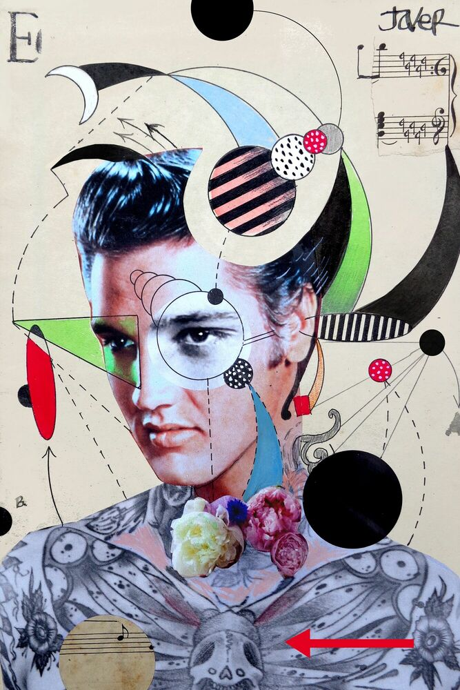 Photographie ANALYTICAL STUDY OF ELVIS WITH DEATH HEAD MOTH - LOUI JOVER - Tableau photo