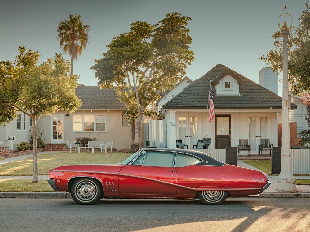 Fotografie LOS ANGELES RED CAR - LUDWIG FAVRE - Bildermalerei