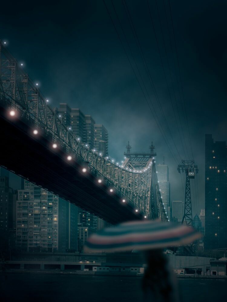 Photograph Roosevelt bridge on a Rainy night - LUDWIG FAVRE - Picture painting