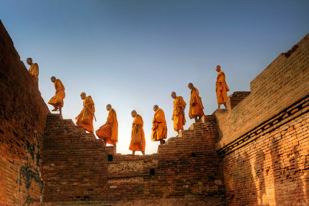 Photographie Moines Bouddhistes Nalanda Inde II - MATTHIEU RICARD - Tableau photo