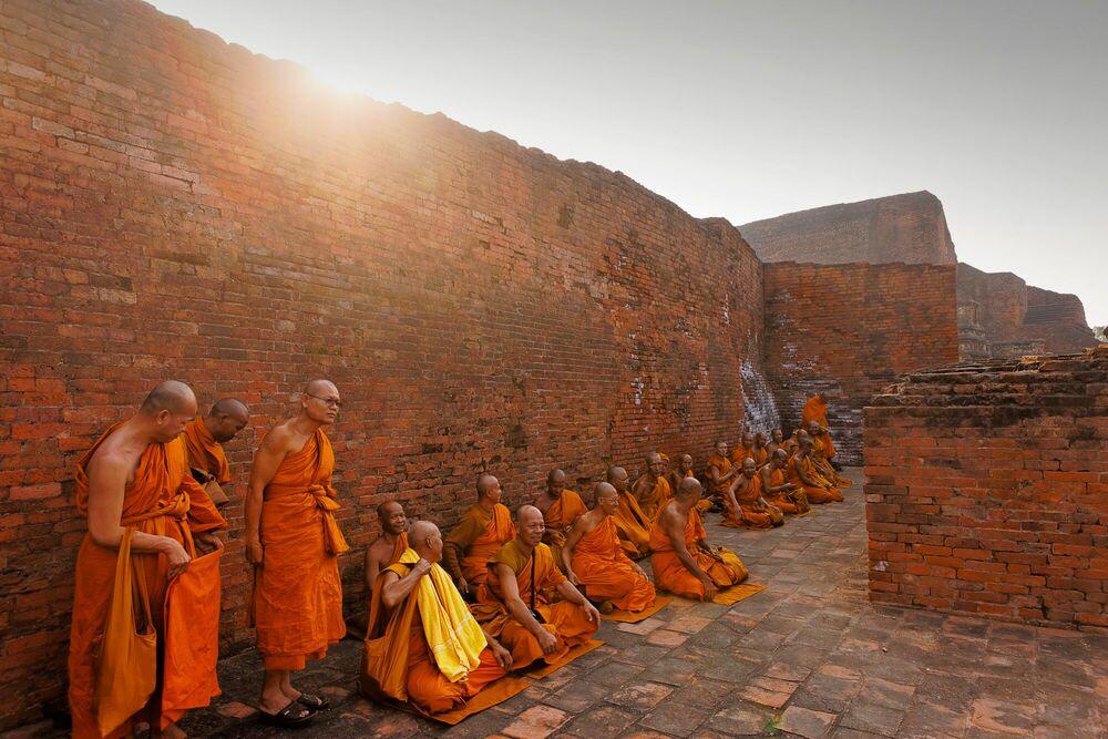 Photographie Moines Bouddhistes Nalanda Inde - MATTHIEU RICARD - Tableau photo